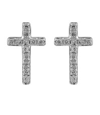 Sydney evan Small White Gold and Diamond Cross Stud ...