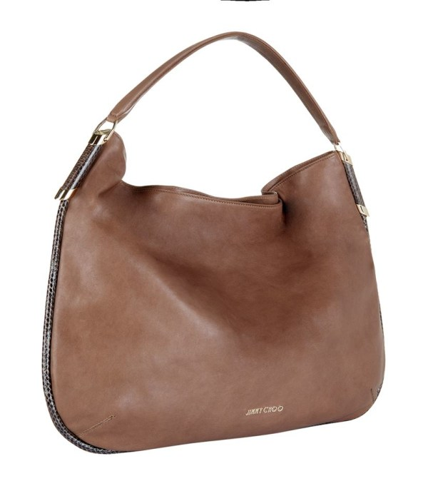 Jimmy Choo Large Zoe Hobo Bag In Brown - Lyst