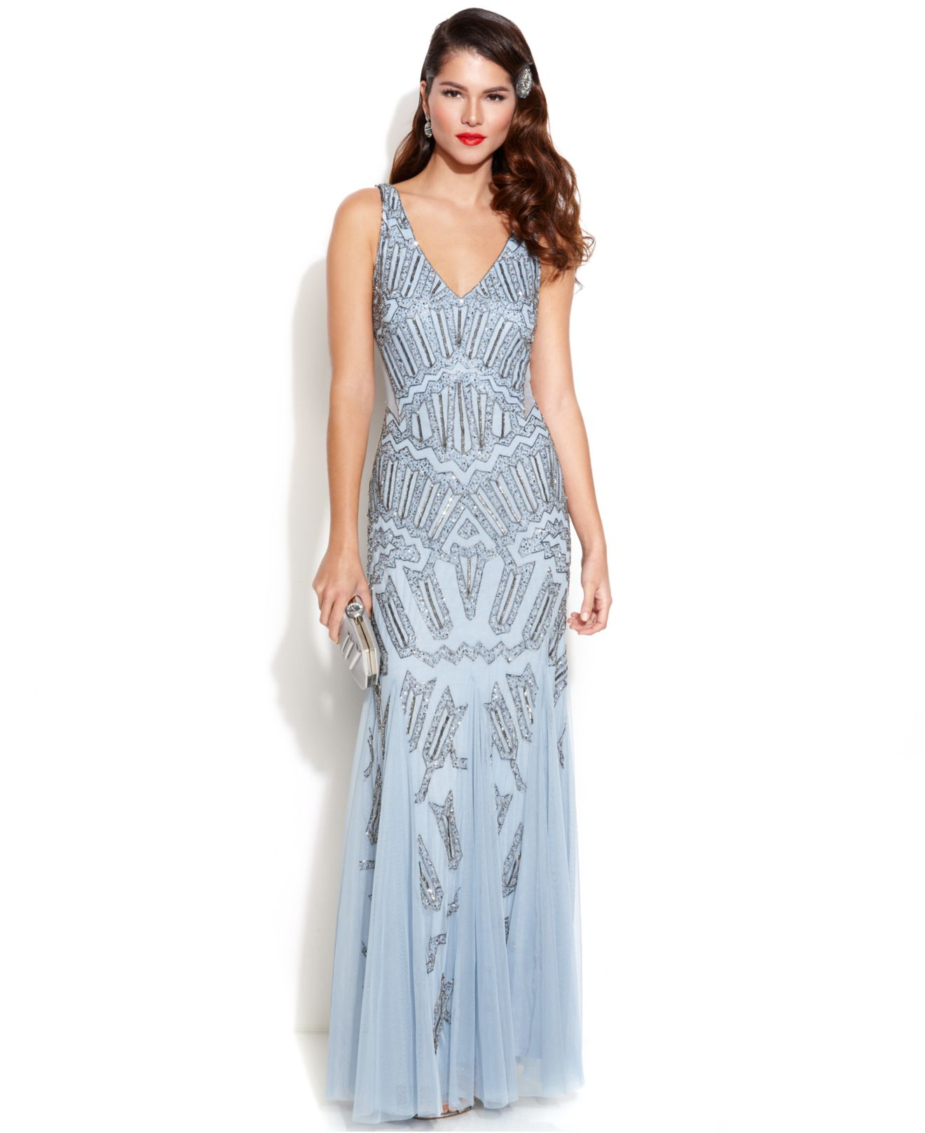 Lyst  Adrianna Papell Sleeveless Beaded Mermaid Gown in Blue