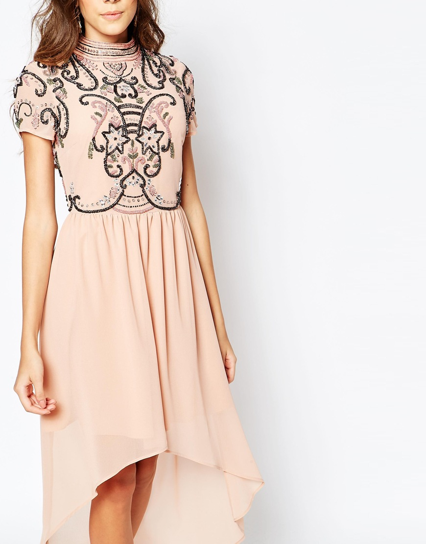 Lyst  Frock and frill High Neck Embellished Dress With High Low Hem in Pink
