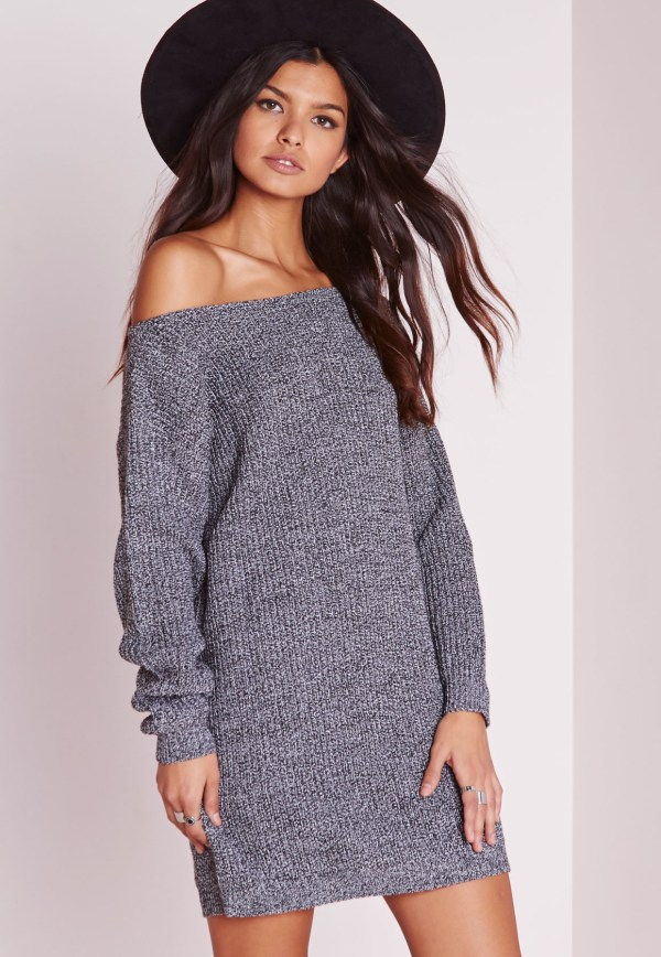 Missguided Ayvan Shoulder Knitted Sweater Dress Grey