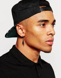 Asos Feather Hoop Earring Pack In Black in Black for Men