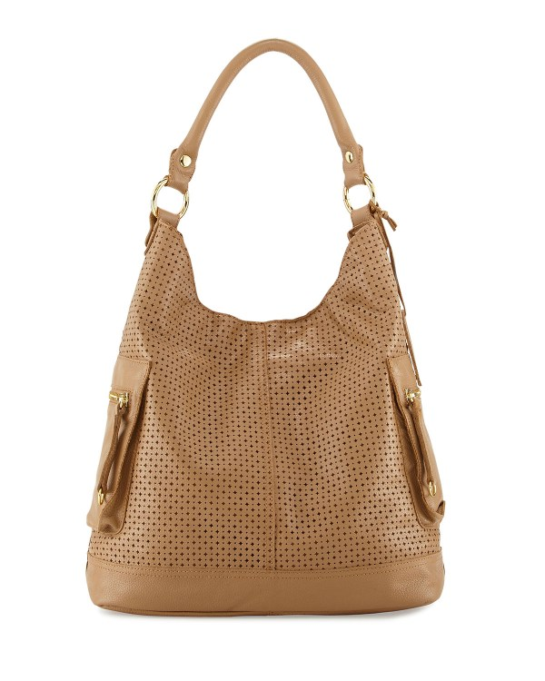 Linea Pelle Dylan Perforated Leather Hobo Bag In Natural