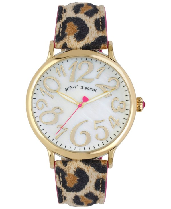 Betsey Johnson Ladies Goldtone And Leopard Print Strap