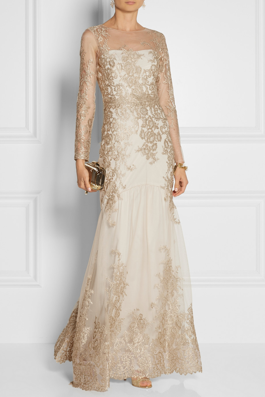 Marchesa Notte Embroidered Tulle Gown In Metallic Lyst