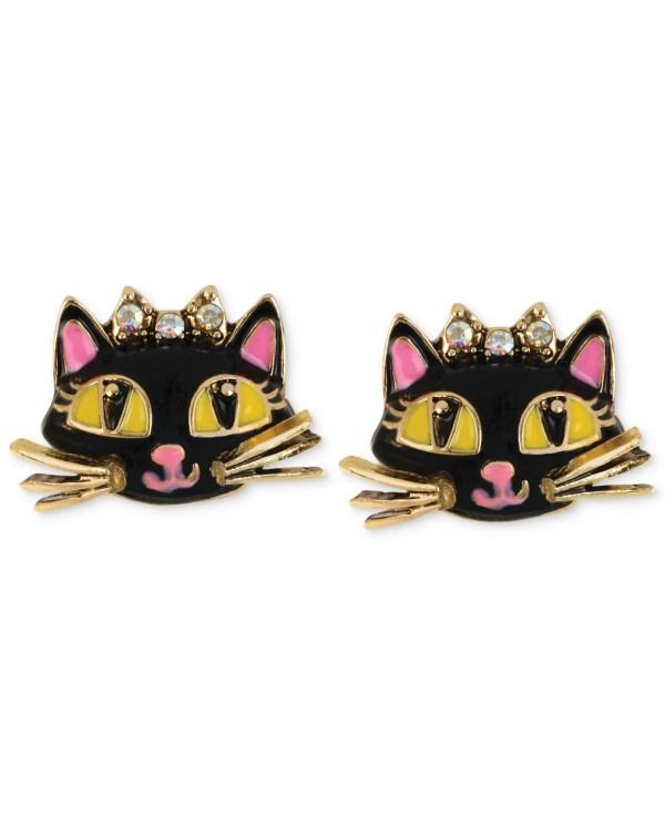 Betsey Johnson Antique Gold-tone Cat Stud Earrings In