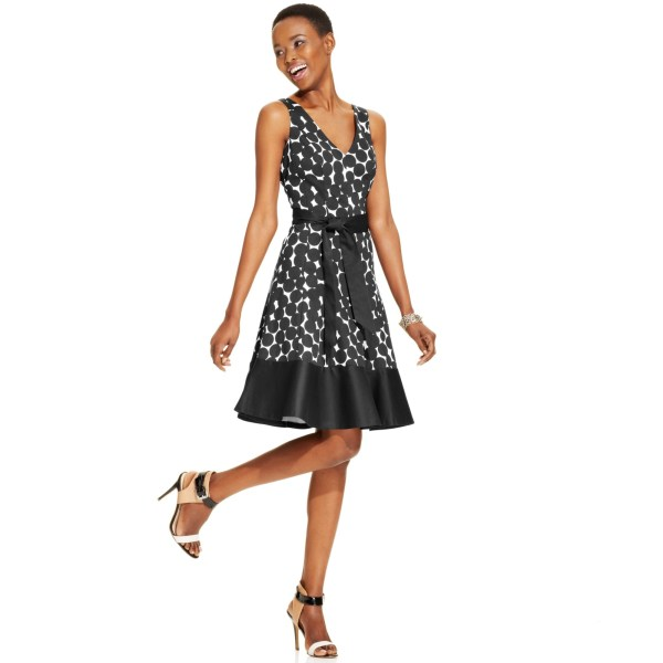Nine West Dot Print Cotton Blend Dress In Black Lyst
