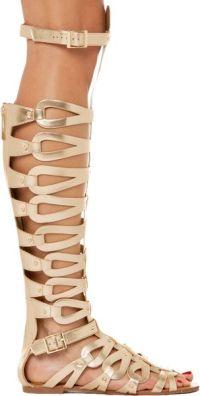 Akira Over The Knee Gladiator Sandal in Gold in Gold   Lyst