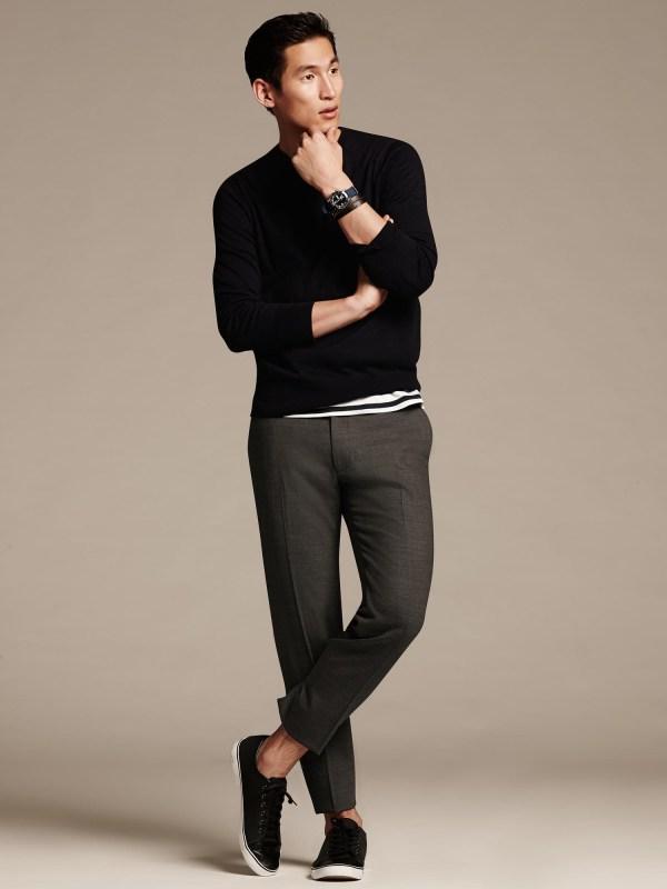 Banana Republic Modern Slim-fit Gray Wool Dress Pant