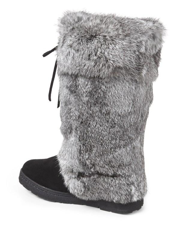 Lyst - Bearpaw Black & Grey Elsa Real Rabbit Fur Boots In Gray