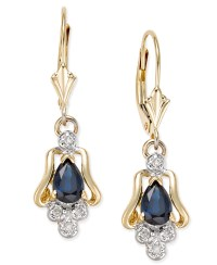 Macy's Sapphire (1 Ct. T.w.) And Diamond Accent Drop ...