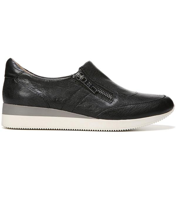 Naturalizer Jetty Zipper Detail Leather Sneakers In Black