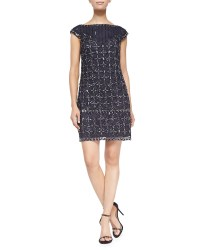 Kay unger Short-sleeve Sequined Mesh Cocktail Dress in ...