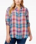 Plus Size Women's Purple Plaid Shirt