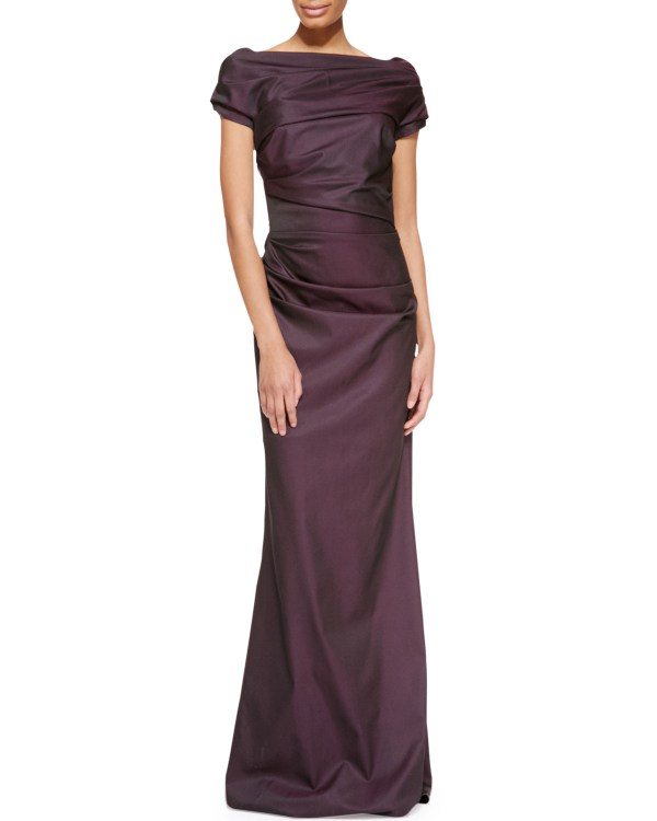 Escada Cap-sleeve Ruched Gown In Purple Lyst
