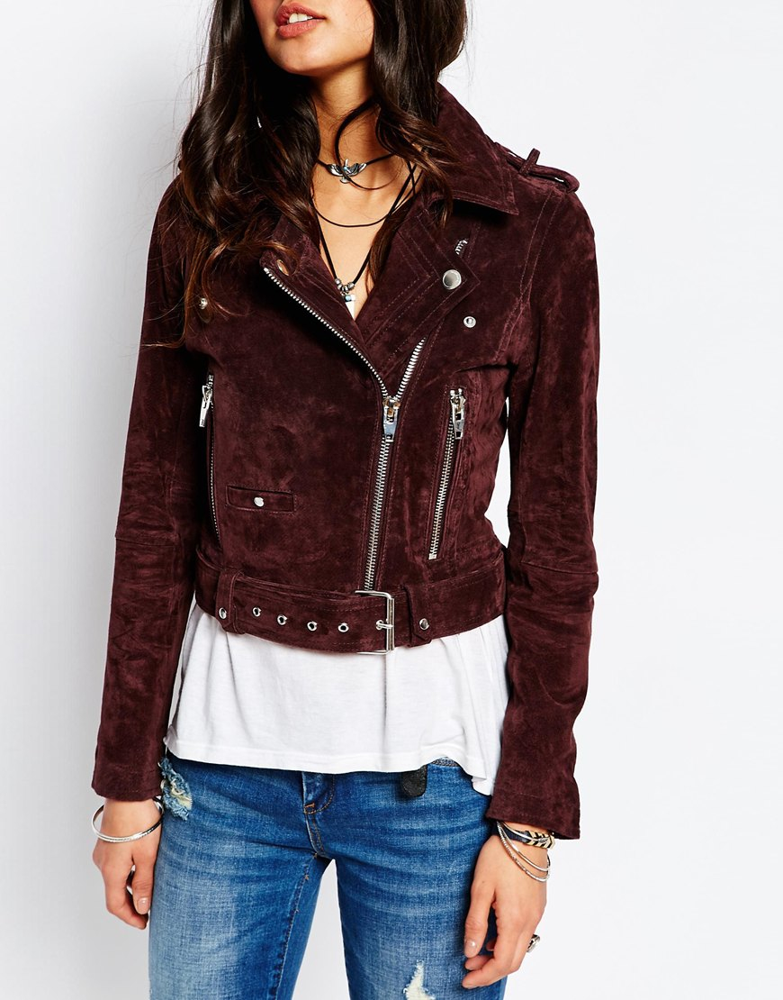 Garage Clothing In Nyc Lyst - Blank Suede Moto Biker Jacket In Purple