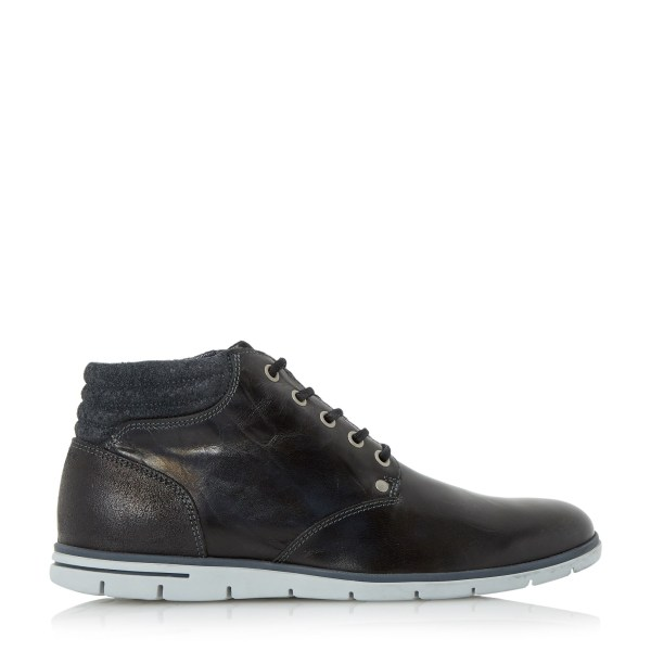 Dune Cane Wedge Sole Leather Lace Boots In Black Men - Lyst