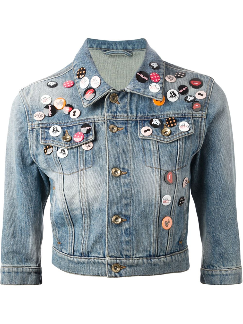 Red valentino Pin Embellished Denim Jacket in Blue  Lyst