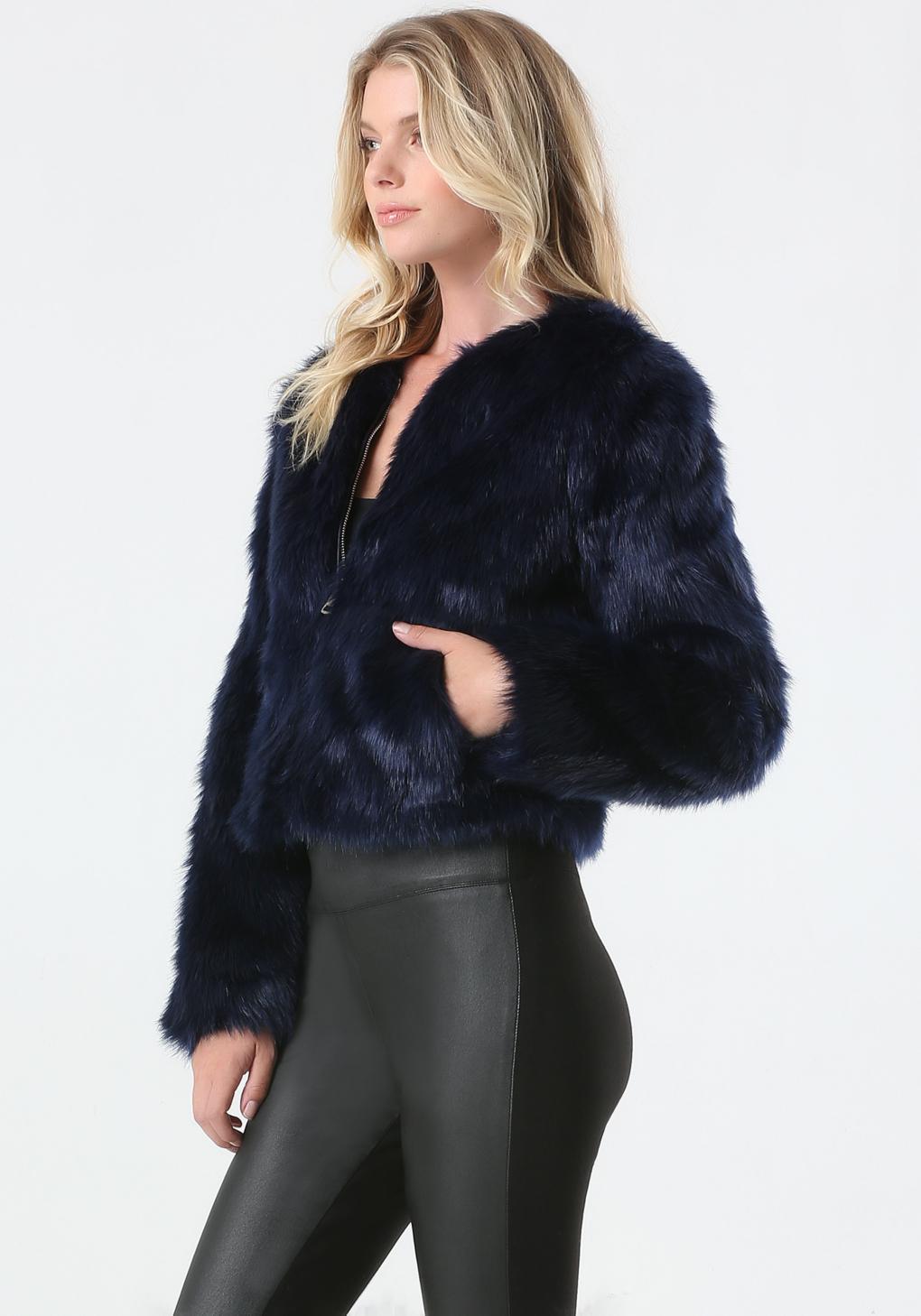Bebe Faux Fur Evening Jacket In Blue Lyst