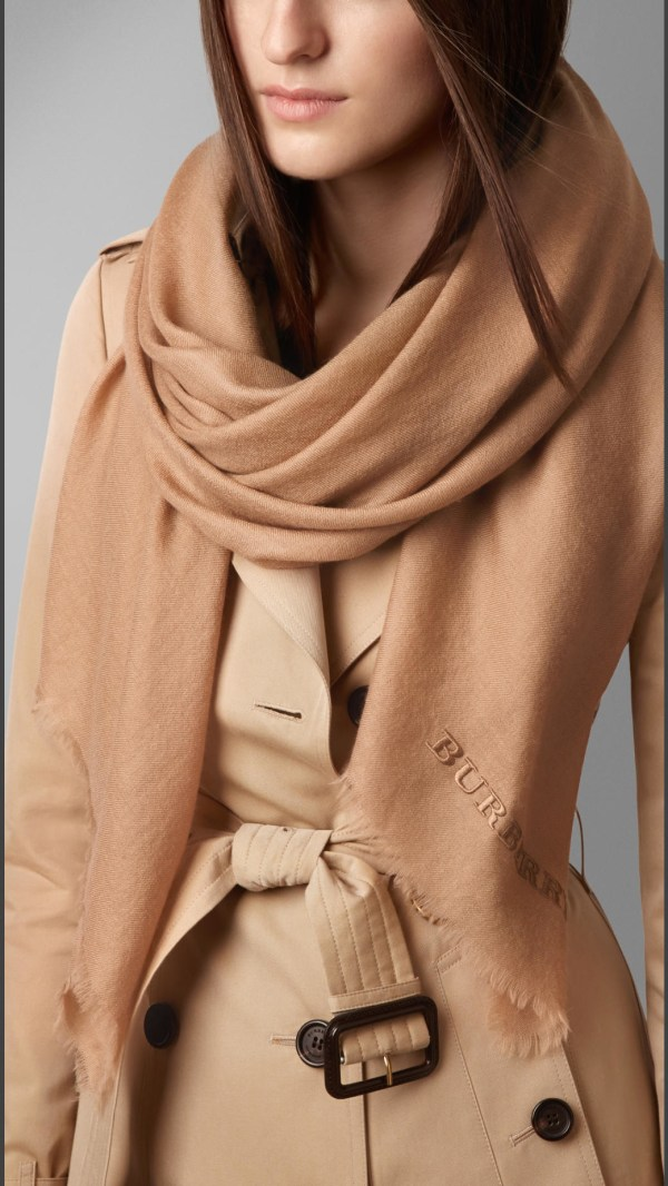 Burberry Embroidered Lightweight Cashmere Scarf In Natural