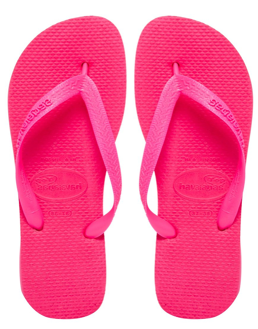Havaianas Top Pink Neon Flip Flops - Lyst