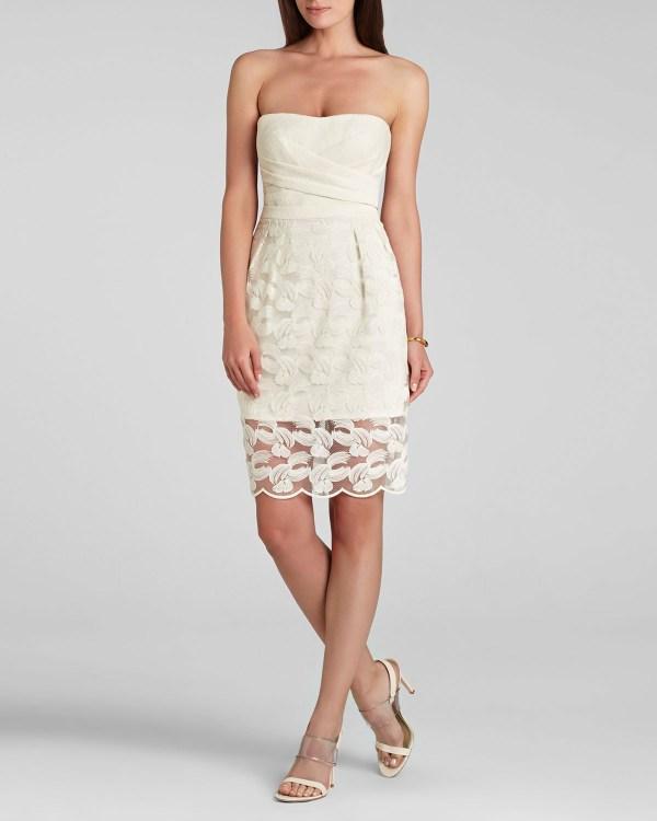Lyst - Bcbgmaxazria Dress Adrianna Lace Strapless In White