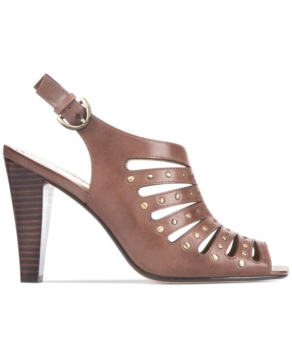 Adrienne Vittadini Gentri Caged Sandals In Brown Lyst