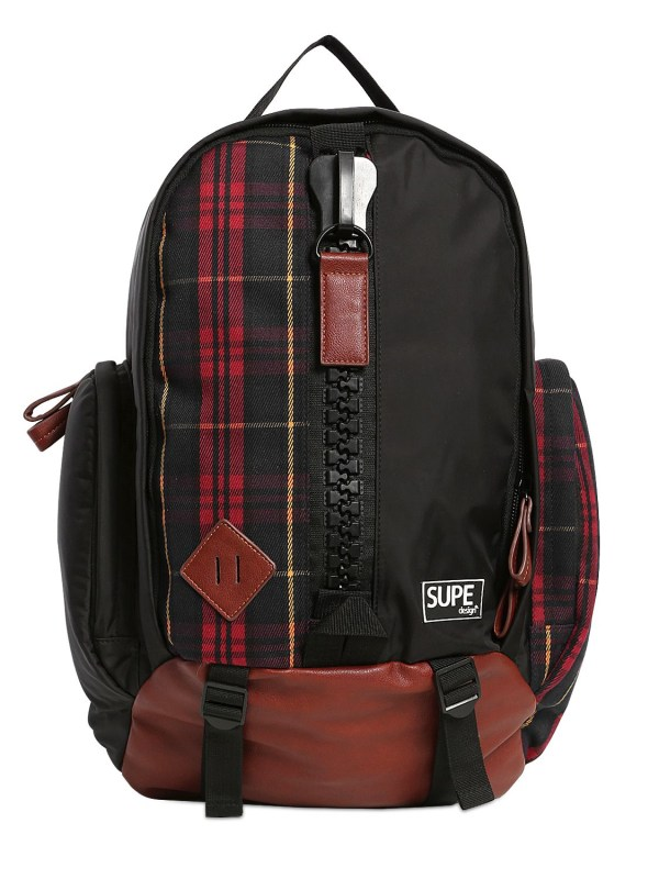 Supe Design Plaid Canvas Mountain Backpack In Black