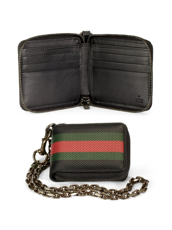 Perforated Leather Wallet Gucci Chain Web