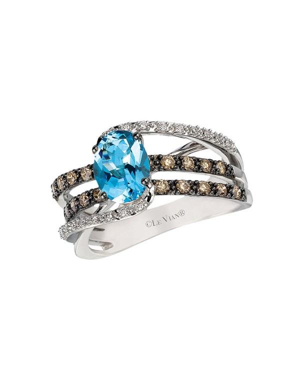 Le Vian Chocolate Diamond and Aquamarine Ring