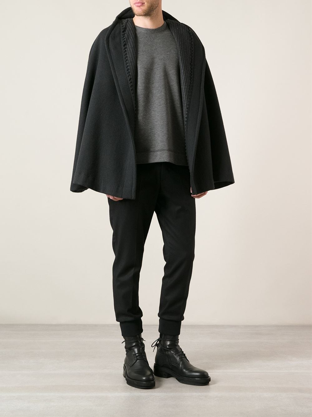 Dolce & Gabbana dark grey wool blend cape coat with a hood