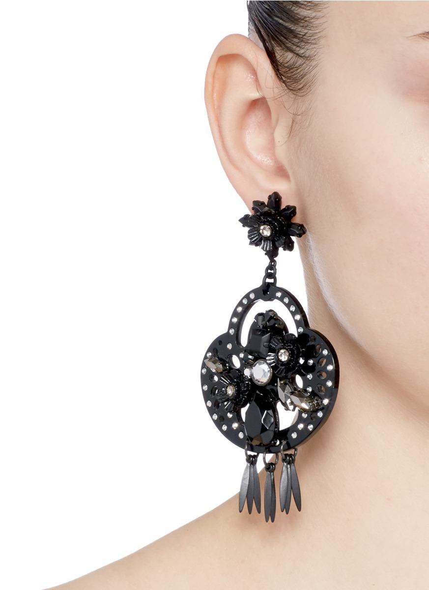 Pics For > Black Crystal Chandelier Earrings