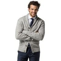 Mens Grey Shawl Collar Cardigan