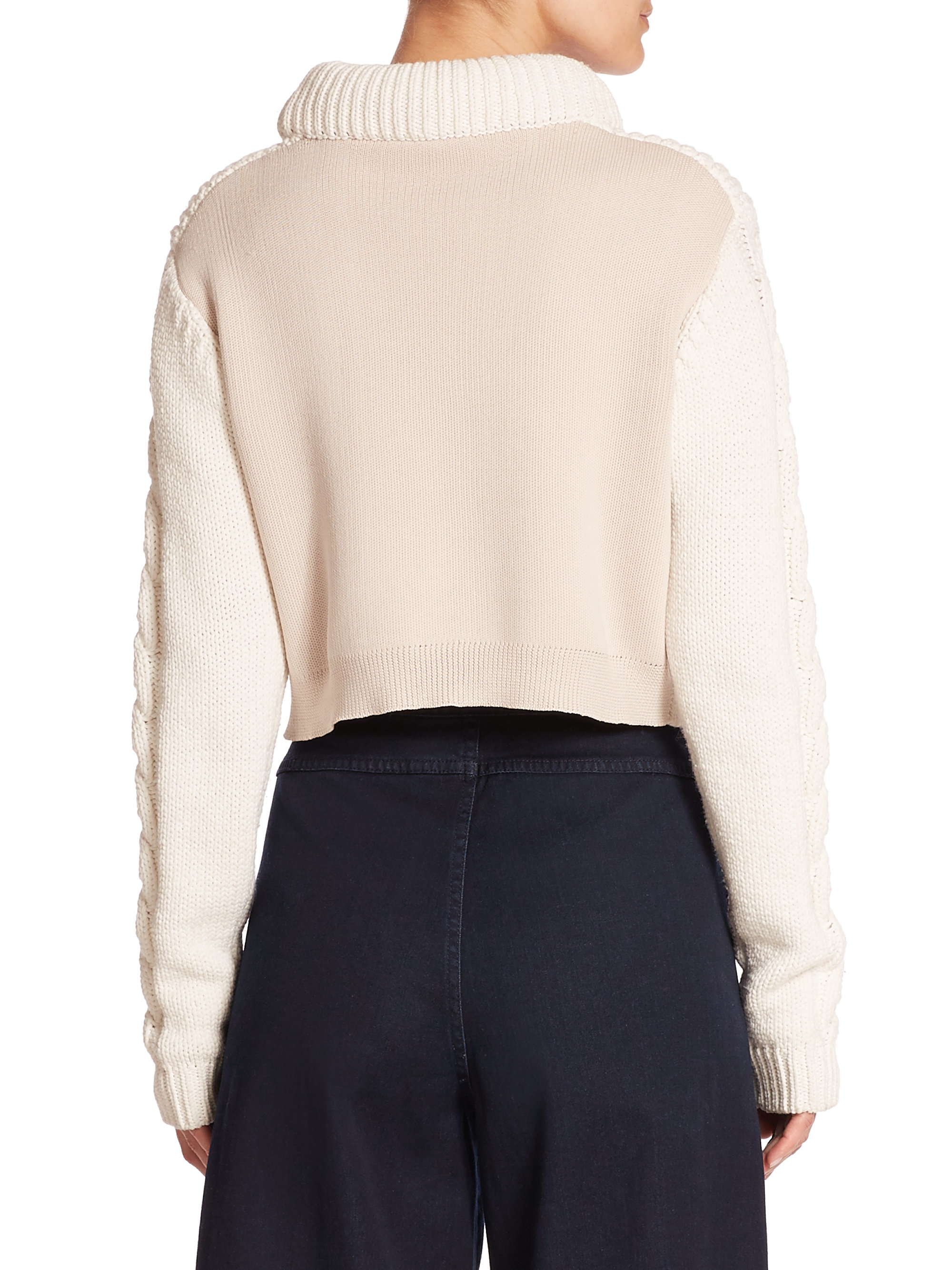 Lyst Tibi Chunky Cable Knit Cropped Sweater In White