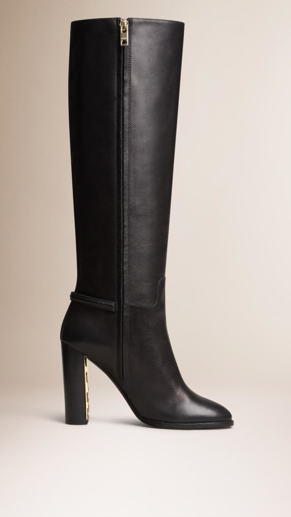 Burberry Knee-high Leather Boots In Black Lyst
