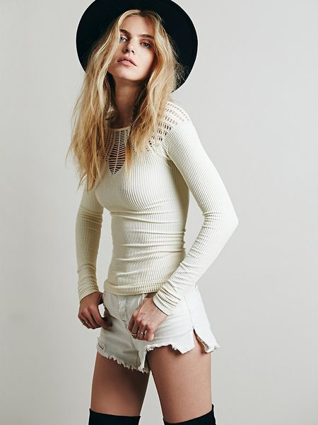 Free People Cut Out Neck Long Sleeve Top in White Ivory