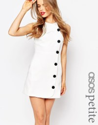 Asos Petite Black Button Up Dress in White | Lyst