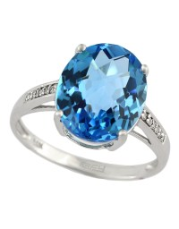 Effy 14kt. White Gold And Blue Topaz Ring With Diamonds in ...