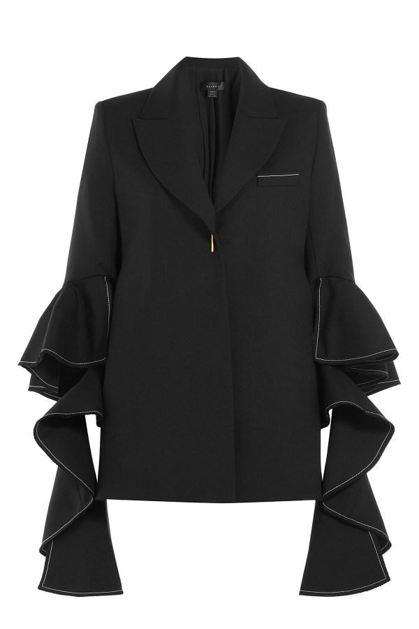Ellery Wool Ruffle Sleeve Blazer - Black In Lyst