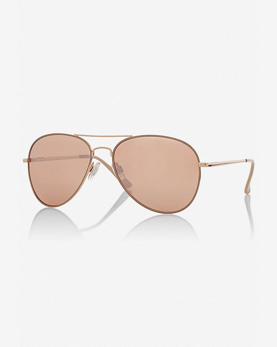 Express Mirrored Rose Gold Lens Aviator Sunglasses in Pink