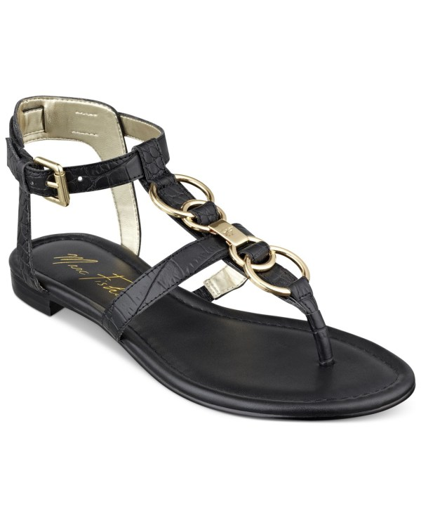 Marc Fisher Palyna T-strap Thong Sandals In Black Lyst