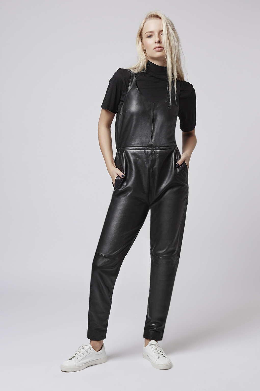 topshop black leather jumpsuit
