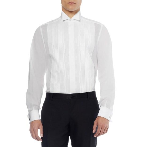 98339900e90b6f Brioni Pleated Bib-front Cotton Tuxedo Shirt In White