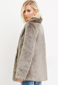 Lyst - Forever 21 Shawl Collar Faux Fur Coat in Gray