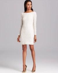 Aidan mattox Cocktail Dress Long Sleeve Sequin in White
