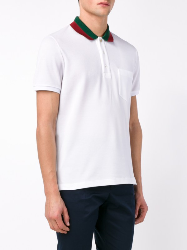 274cb3f41958 Lyst - Gucci Striped Collar Polo T-shirt In White Men