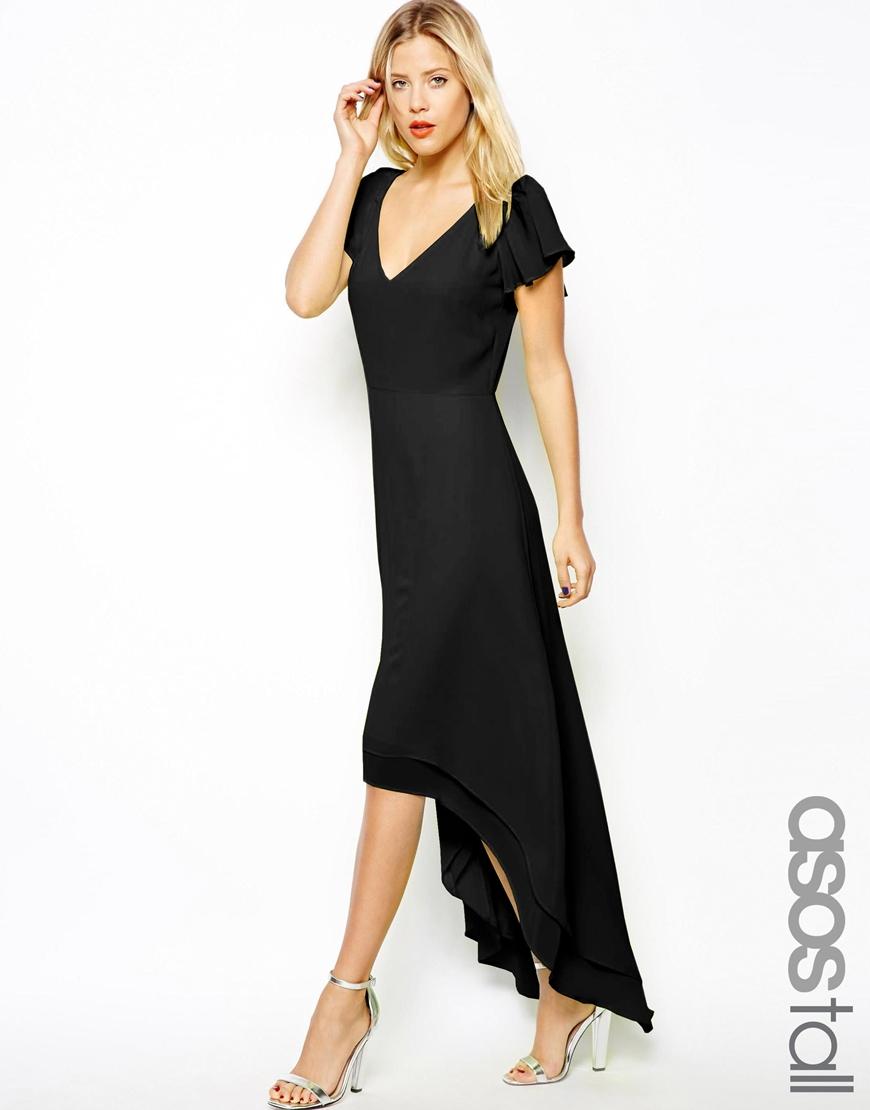 Asos High Low Hem Maxi Dress in Black  Lyst