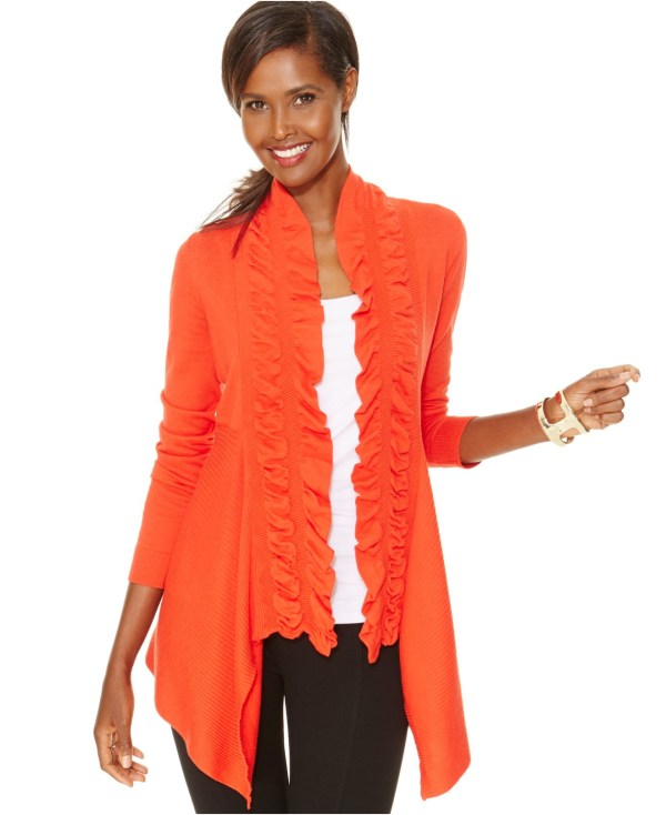 International Concepts Ruffled Open-front Cardigan In
