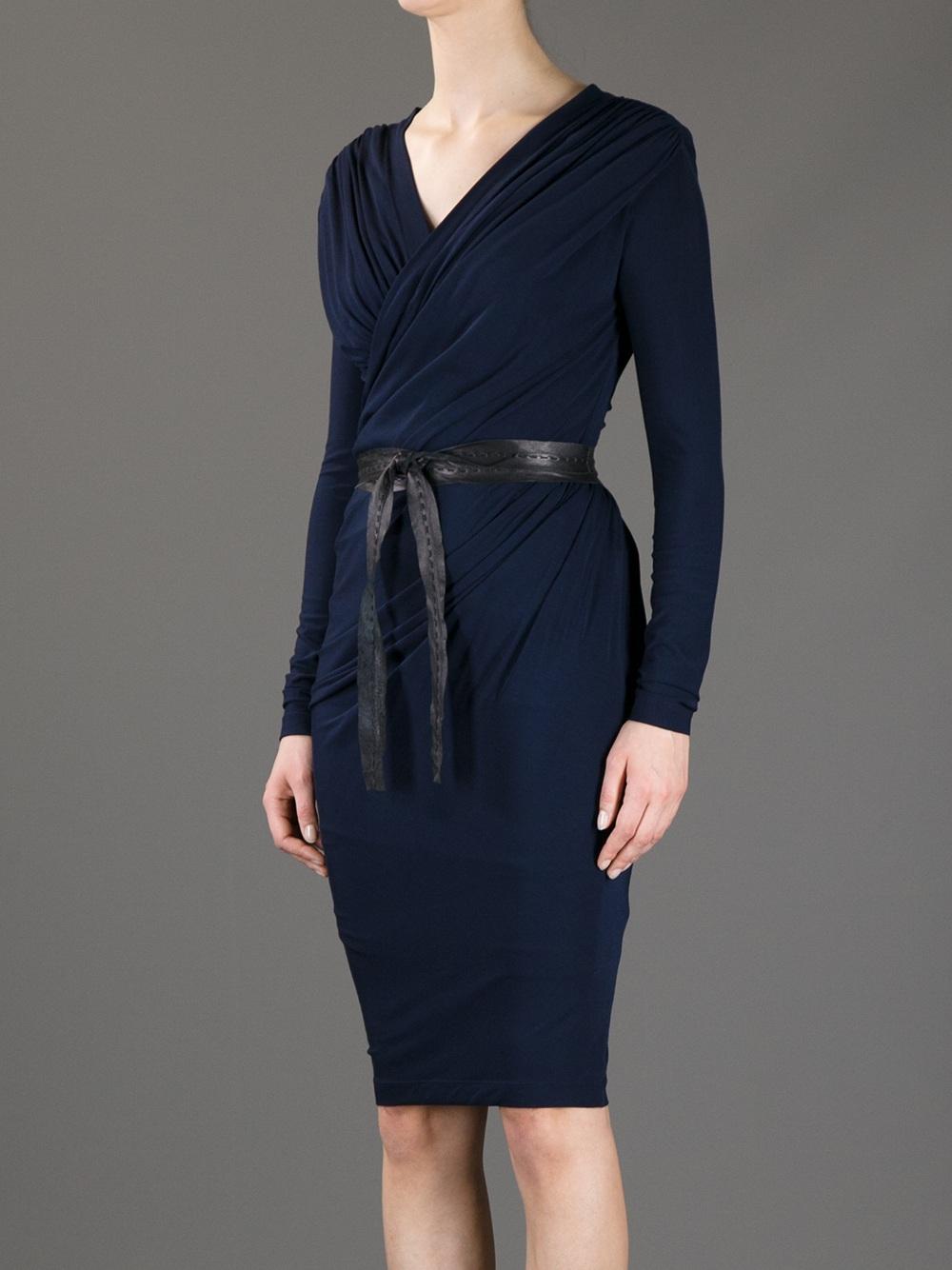 Lyst  Donna Karan Belted Wrap Dress in Blue