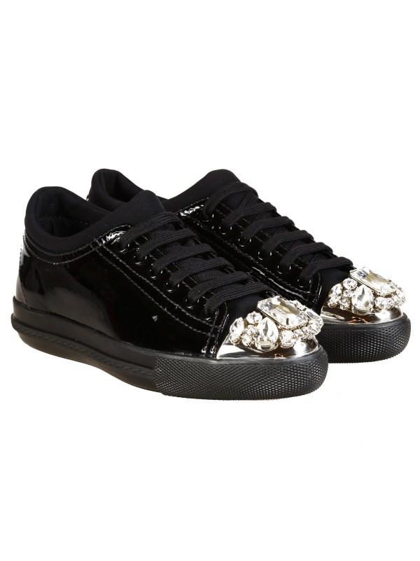 80f7b7a1936e Miu Miu Embellished Sneakers in Black Lyst